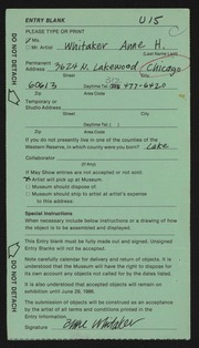 Entry card for Whitaker, Anne H. for the 1986 May Show.