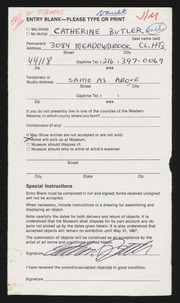 Entry card for Butler, Catherine Ann for the 1987 May Show.
