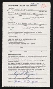 Entry card for Ferguson, Cary S. for the 1987 May Show.