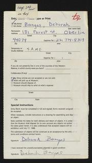 Entry card for Banyas, Deborah  for the 1988 May Show.