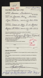 Entry card for Borowiec, Andrew for the 1988 May Show.