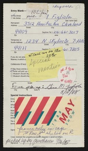 Entry card for Figliola, Gina M. for the 1988 May Show.