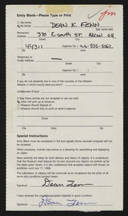 Entry card for Fenn, Dean Karl for the 1988 May Show.