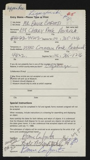 Entry card for Conforti, Bruce Charles for the 1988 May Show.