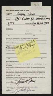 Entry card for Cagan, Steve for the 1988 May Show.