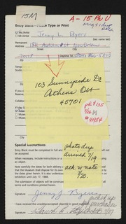 Entry card for Byers, Jenny L. for the 1988 May Show.