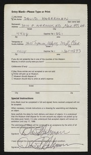 Entry card for Haberman, David Allen for the 1988 May Show.