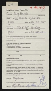 Entry card for Harris, Margaretta B. for the 1988 May Show.