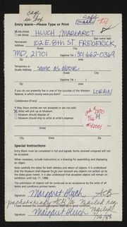 Entry card for Hluch, Margaret for the 1988 May Show.