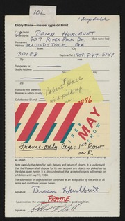 Entry card for Hurlburt, Brian for the 1988 May Show.