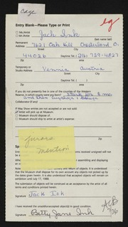 Entry card for Ink, Jack for the 1988 May Show.