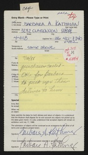Entry card for Kathman, Barbara A. for the 1988 May Show.