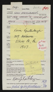Entry card for Kautenburger, Kevin for the 1988 May Show.