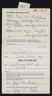Entry card for Kiser, Joy M. for the 1988 May Show.
