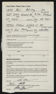 Entry card for Lee, Paul Pak-hing for the 1988 May Show.