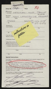 Entry card for Lessman-Moss, Janice for the 1988 May Show.