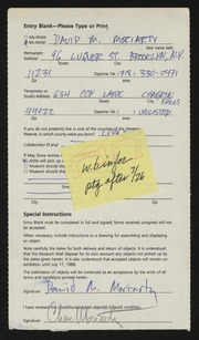 Entry card for Moriarty, David Michael for the 1988 May Show.