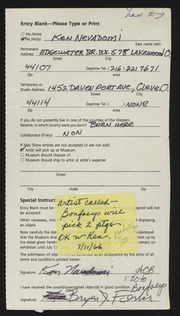 Entry card for Nevadomi, Ken for the 1988 May Show.