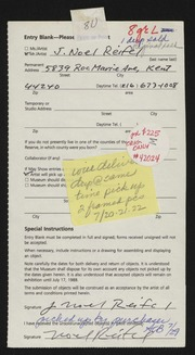 Entry card for Reifel, Noel for the 1988 May Show.