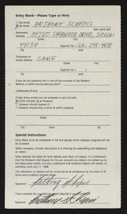 Entry card for Schepis, Anthony Joseph for the 1988 May Show.
