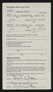 Entry card for Utter, Douglas Max for the 1988 May Show.