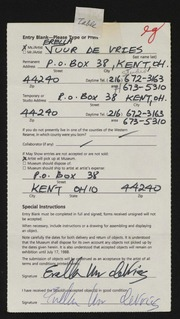 Entry card for de Vries, Erella Uur for the 1988 May Show.