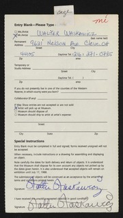 Entry card for Waskawicz, Walter for the 1988 May Show.