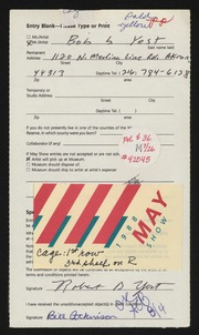 Entry card for Yost, Robert  for the 1988 May Show.