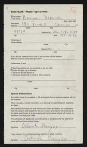 Entry card for Banyas, Deborah  for the 1989 May Show.