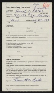 Entry card for Bates, Kenneth F. for the 1989 May Show.