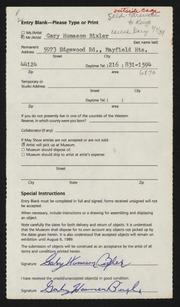 Entry card for Bixler, Gary Humason for the 1989 May Show.