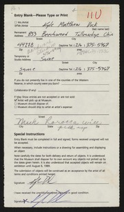 Entry card for Dick, Kyle Matthew for the 1989 May Show.