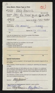 Entry card for Harris, Margaretta B. for the 1989 May Show.