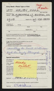 Entry card for Hruby, Mark for the 1989 May Show.