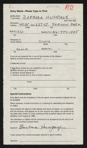 Entry card for Humpage, Barbara J. for the 1989 May Show.