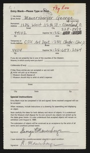 Entry card for Mauersberger, George for the 1989 May Show.