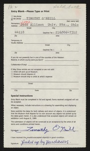 Entry card for O'Neill, Timothy G. for the 1989 May Show.