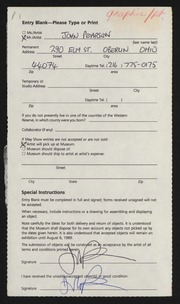 Entry card for Pearson, John for the 1989 May Show.