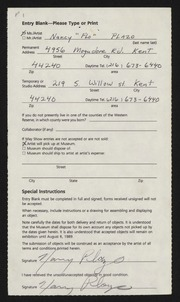 """Entry card for Plazo, Nancy """"Flo"""" for the 1989 May Show."""