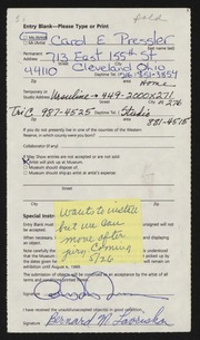 Entry card for Pressler, Carol E. for the 1989 May Show.