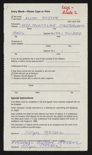 Entry card for Rosser, Allyn for the 1989 May Show.