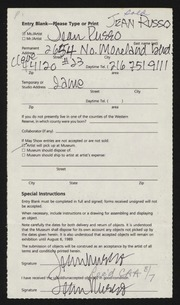 Entry card for Russo, Jean M. for the 1989 May Show.