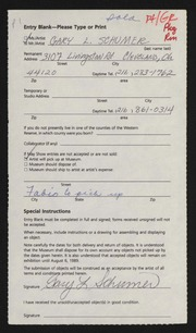 Entry card for Schumer, Gary for the 1989 May Show.