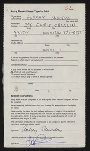 Entry card for Skuodas, Audrey for the 1989 May Show.