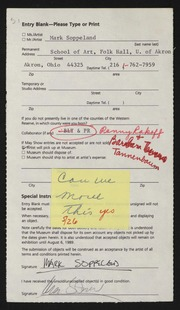 Entry card for Soppeland, Mark, and Rakoff, Penny; Tannenbaum, Barbara for the 1989 May Show.