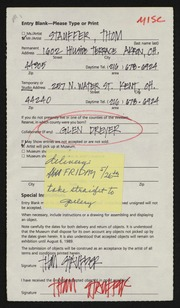 Entry card for Stauffer, Thomas, and Dreyer, Glen for the 1989 May Show.