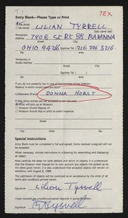 Entry card for Tyrrell, Lilian, and Horst, Donna for the 1989 May Show.