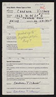 Entry card for Vickers, Candace for the 1989 May Show.