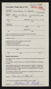 Entry card for Ward, Michael T. for the 1989 May Show.