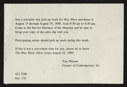Entry card for Webb, Tom for the 1989 May Show.